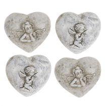 Mini decoratieve hartjes met engelen 4cm grijs 8st