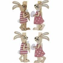 Sierclips konijntjes paashaasjes roze, wit hout paasdecoratie 4st