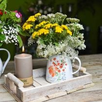 Sierkan met wilde rozen, emaille kan, metalen vaas vintage look H12.5cm2.5
