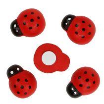 Decoratief lieveheersbeestje om op te plakken 2.5cm rood 72st