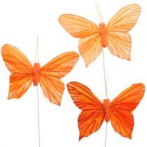 Decoratieve vlinder oranje 12st