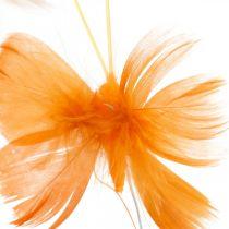 Vlinders in oranje tinten, voorjaarsversiering lentevlinders op draad 6st