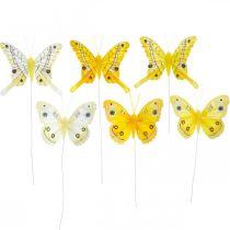 Decoratieve vlinders gele veer vlinder op draad 7.5cm 6st