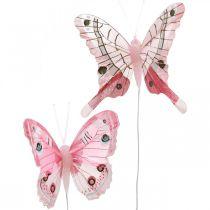 Decoratieve vlinders roze veer vlinder op draad 7.5cm 6st
