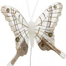 Decoratieve vlinders wit, bruin veer vlinder op draad 7,5 cm 6st
