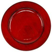 Decoratief bord kunststof Ø28cm rood-zwart