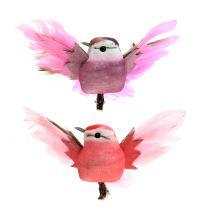 Decoratieve vogels op de clip roze / paars 9cm 8st