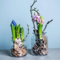 Glazen vaas ruitpatroon, lantaarn, decoratieve glazen pot, tafeldecoratie 2st