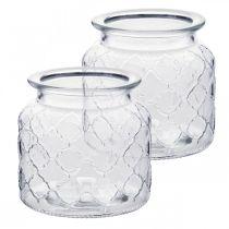Decoratief lantaarn ruitpatroon, glazen vat, glazen vaas, kaarsdecoratie 2st