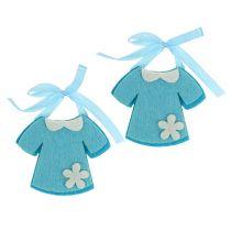 Geboorte decoratie vilten jurk blauw 7cm 20st