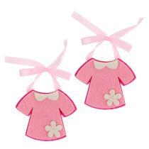 Geboorte decoratie vilten jurk roze 7cm 20st