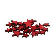 Verspreide houten sterren rood 3-5cm 72st