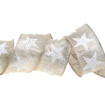 Kerstlint met sterrenpatroon natuur, zilver 40mm 15m
