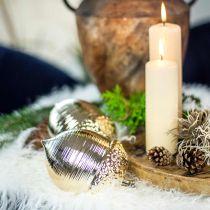 Decoratief eikel keramiek gouden tafeldecoratie Kerst 13.5cm 2st