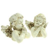 Decoratieve engel bidcrème 9cm 8st