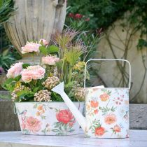 Decoratieve gieter metalen vintage rozen zomerdecoratie tuin H31.5cm