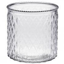 Decoratief glas, lantaarn met ruitpatroon, glazen schaal Ø15cm H15cm