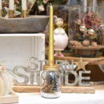Decoratief glas met kaarsenhouder gouden metalen deksel Ø8.5cm H16cm