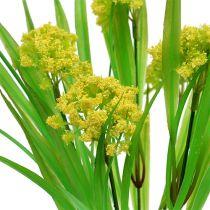 Decoratief gras met bloemen geel, groen L30cm