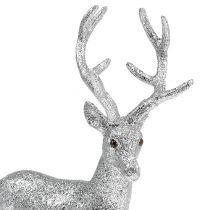 Decoratief hert zilver, mica H32cm B25cm