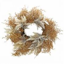 Decoratieve krans pampasgras kunstcrème, bruine deurkrans Ø60cm