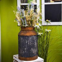 Deco melkkan vintage look metalen plantenbak tuindecoratie H35cm