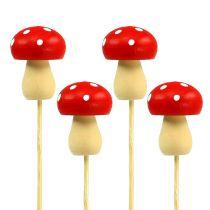 Decoratieve paddenstoel paddenstoel rood 3.5cm L30cm 12st