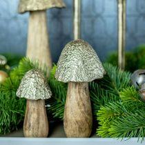 Decoratief paddestoel metaal hout goudkleurig, natuur tafeldecoratie herfst 18.5cm