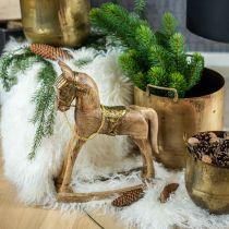 Decoratief hobbelpaard hout massief kerst natuur, goudkleurig 28 × 39 × 9,5cm