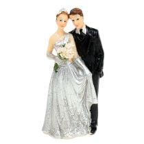 Deco zilveren bruidspaar 10cm