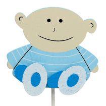 Decoratieve plug baby blauw 5cm L25cm 20st