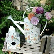 Decoratief vogelhuisje met bloemen metaal wit 25.5c × 16 × 13.5cm