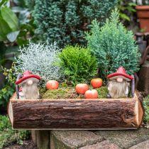 Deco elf keramiek paddestoel hoed tafeldecoratie rood, wit H10.5cm 3st