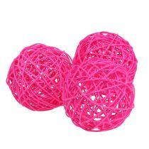Decoratieve bal roze 10cm 6st