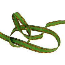 Decoratietape groen met draadrand 15 mm 15 m