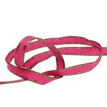 Decoratietape roze met draadrand 15mm 15m