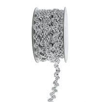 Decoratief lint glanzend zilver 10 mm 9 m