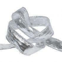 Decoratief lint zilver met draadrand 25m