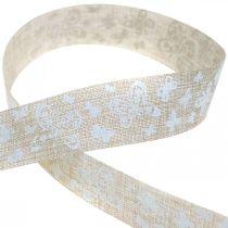 Decoratief lint met vlinders bruin 25mm stoffen lint cadeaulint 20m