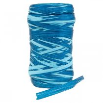 Deco bast tweekleurig blauw 200m
