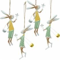 Decoratieve figuren paar konijntjes, metalen decoratie, paashaasjes om op te hangen, lentedecoratie 4st