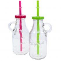 Decoratieve flessen met deksel en rietje H14.5cm