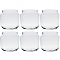 Decoratief glas, bloemenvaas, glazen lantaarn, tafeldecoratie Ø10cm H10cm 6st