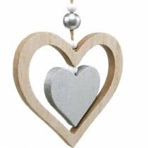 Decoratiehanger hart bloem vlinder natuur, zilver houtdecoratie 6st