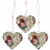 Decoratief hart pioenrozen nostalgisch metalen hart om op te hangen 6st