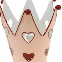 Decoratieve kroon, metalen lantaarn, plantenbak voor Valentijnsdag, metalen decoratie met een hart