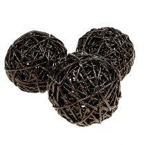 Decoratieve bal Ø12cm donkerbruin 6st