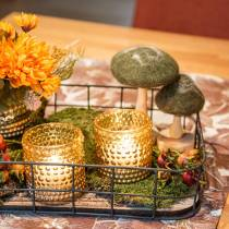 Decoratief paddestoel hout / vilt groen 8cm - 15cm 4st