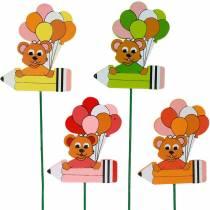 Decoratieve plugpen met teddybeer en ballonnen flower plug zomerdecoratie kinderen 16st