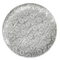 Decoratief bord zilver met ornament Ø32cm